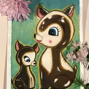 Original Painting watercolor Mommy and baby deer